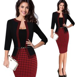 $enCountryForm.capitalKeyWord Australia - Hgte Womens Autumn Retro Faux Jacket One-piece Polka Dot Contrast Patchwork Wear To Work Office Business Sheath Dress J190529