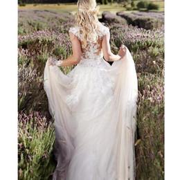 $enCountryForm.capitalKeyWord Australia - White Lace Boho Beach Wedding Dresses Sheer Neck Bridal Party Gown Robes De Mariee Backless Wedding Gowns