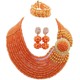 $enCountryForm.capitalKeyWord NZ - Widely Popular Coral Pink Fashion Crystal Party Necklace Earrings Bracelet Sets for Ladies 10C-DPH-06