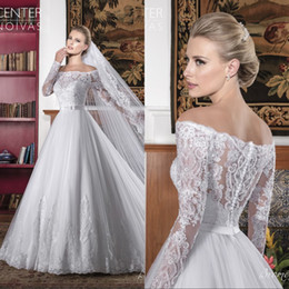 Mop gold online shopping - 2019 New Wedding Dresses with Sash Charming Luxury Elegant Off Shoulder Lace Appliques Long Sleeves Ball Gown Mopping Section Wedding Gowns