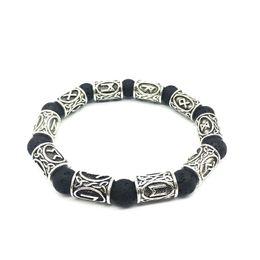 Runes jewelRy online shopping - Pretty mm Lava Stone Bracelet Vintage Antique Silver Beads Bracelets Viking Rune Alloy Norse jewelry For Women Men Bracelet