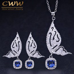 silver butterfly necklace earring set UK - Cwwzircons Brand Fashion Butterfly Shape Ladies Jewelry 925 Sterling Silver Cz Blue Crystal Earrings And Necklace Sets T158 Y19051302