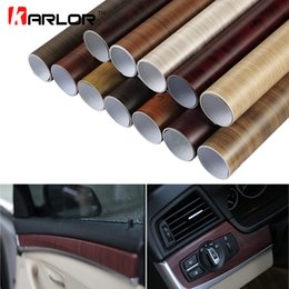 Discount wood interior doors - 30*100CM PVC Wood Grain Textured Car Interior Decoration Stickers Waterproof Furniture Door Automobiles Vinyl Film Car-S