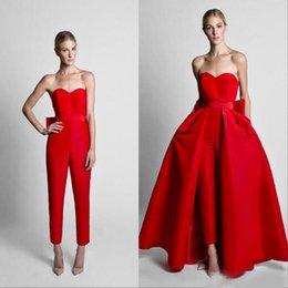 0454ef7cff81 Krikor Jabotian Red Jumpsuits Formal Evening Dresses With Detachable Skirt  Sweetheart Prom Dresses Party Wear Pants for Women 2019 Hot Sale