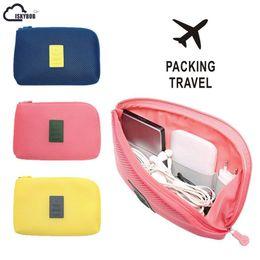 Blue Gadgets Australia - ISKYBOB Portable Travel Earphone Cable USB Digital Gadget Organizer Storage Makeup Bag Cosmetic Cases #164234