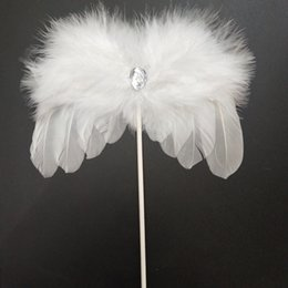 Feather For Birthday Party Decoration Australia - Baking Cake Tools-Angel Feather Wing Cake Toppers Baby Shower Cake Decorations for Birthday Wedding Party Favor