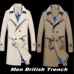 green jacket double breasted mens Canada - VXO Men British Trench Slim Double Breasted Mens Long Trench Coat Trenchcoat Jacket Male Coat TBusiness Casual rench CJ191128