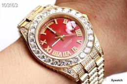 $enCountryForm.capitalKeyWord Australia - Crown brand men's diamond-inlaid daywatt luxury 43mm mechanical men's wrist watch large dial red face