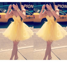 short strapless chiffon draped dress NZ - 2019 Short Yellow Prom Dresses Beaded Sequins Strapless Ball Gown Piping Homecoming Dress Cocktail Graduation Dress For Girls Sweet 16
