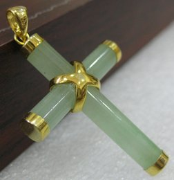 Natural jade cross peNdaNt online shopping - 2 choices Western Style green Natural jade Cross Pendant Necklace