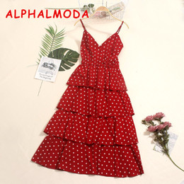 Fairy Style Dresses Australia - ALPHALMODA Cascading Ruffled Women's Princess Polka Dot Dress Sling Elastic Waist Mid-calf Ladies Fairy Summer Vestidos T190601