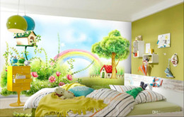 Wood Small Houses Australia - 3d room wallpaper custom photo non-woven mural Rainbow small red house children bedroom background wall wall-papers