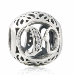 Discount letter k bracelet - 2018 New Authentic 925 Sterling Silver Openwork Letter K Charm Vintage Alphabet Beads For Jewelry Making Fit Original Pa