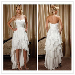 $enCountryForm.capitalKeyWord Canada - New Arrival Short Front Long Back Sweetheart Chiffon High Low Country Western Wedding Dresses