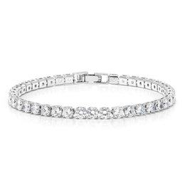 "brilliant bracelet Australia - 4MM Round Cut Brilliant White Cubic Zirconias CZ 7"" Tennis Bracelet"