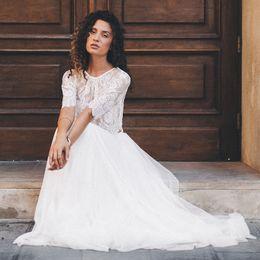 $enCountryForm.capitalKeyWord Australia - Beach Wedding Dress Two Pieces Scoop Half Sleeve A-Line Lace Top White Ivory Floor Length Bride Dress Wedding Gown 2019