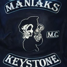 Bikers Back Patches NZ - New Fashion MANIAKS KEYSTONE Embroidery Patches Full Back Size Custom Iron On Clothes For MC Biker Free Shipping