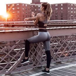 $enCountryForm.capitalKeyWord Australia - Women Yoga Set Tracksuit Fitness Set Pink Gray Sexy Ensemble Sportswear Gym Wear Running Clothing Sport Suit Tank Top Leggings