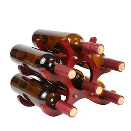 home tool rack UK - Preferred 6 Bottles Wine Racks Wooden Wine Bottle Holder Wine Stand Shelf Tabletop Decoration Home Bar Storage Shelf Racks Kitchen Tools