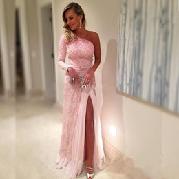 2019 New Sexy High Split Front Formal Dress Elegant One Shoulder Long Sleeves Pink Mermaid Tulle Applique Evening Dresses