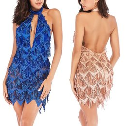 0e7d5dfc Gold Glitter Mini Dress UK - summer fashion glitter sequin dress patchwork  fringe dresses woman party