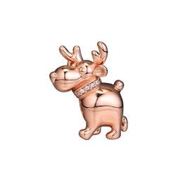 2886ec709 2018 New Authentic 925 Sterling Silver Animal Bead Charm Rose Gold Reindeer  With Crystal Beads Fit Pandora Bracelet Bangle Diy Jewelry