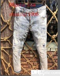 $enCountryForm.capitalKeyWord Australia - 19 season new men s jeans d2 Slim feet micro-explosive locomotive stereo stitching chaos line patch tattered