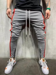 skinny tracks NZ - Men Skinny Tracksuit Sweatpants Mens Colorblock Trousers Gyms Jogger Track Pants Mens Joggers Pencil Pants Casual Fitness