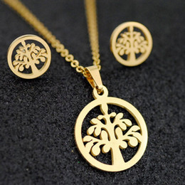 ff654311e 2019 New Fashion Life Tree Women's Pendant Necklace Stud Earrings Jewelry  Sets Silver Chain Necklace Earrings For Women Jewelry