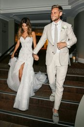 $enCountryForm.capitalKeyWord NZ - Beige Linen Men Suits For Wedding Man Blazers Jacket Casual Coat Pants Slim Fit Groom Tuxedos 2Piece Beach Wedding Party Terno Mascumo