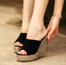 Blue Suede Booties Women Australia - 2019 Fashion Sequins High Heel Slippers Women Summer Shoes Suede Platform Sandals Ladies Wedges Sandals Flip Flops