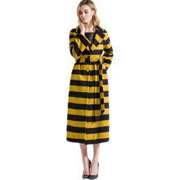 64d7a0a33d05 Autumn Winter 2019 New Stripe Wool Coat long Women s Woolen Fabric Overcoat