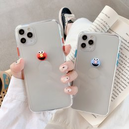 galaxy note cartoon phone cases NZ - 3D Cartoon Soft Tpu Phone Case for iphone XS MAX XR Coque for iphone 11 pro max 7 8 Plus Sesame Street Cookie clear cover Promotion