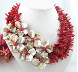 Coral earring fashion jewelry online shopping - jewelry hot sell new Flower natural coral ahell pearl neckalce earring set Fashion AKOYA Free