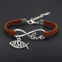 god bracelet wholesale NZ - Punk Silver Dark Brown Braided Leather Suede Cuff Bracelet For Men Women Infinity Love Jesus & God Fish Heart Christian Jewelry Dropshipping