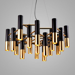 industrial fluorescent light NZ - Modern metal round tube chandelier Nordic industrial retro water pipe led light simple restaurant bar living room lighting G258