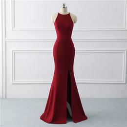 $enCountryForm.capitalKeyWord Canada - Burgundy Sexy Evening Gown Dress Mermaid Prom Dress Stretch Fabric Long Evening Dresses Side Slit Prom Dress Vestido De Noiva Y190525
