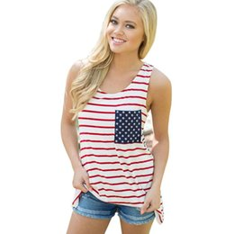 $enCountryForm.capitalKeyWord Australia - USA Flage Sports T-shirts Star Pocket Stripe Women Sexy Sleeveless Big O-neck Tank Top Bathing Vest Girls Summer Beach Shirts