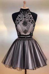 $enCountryForm.capitalKeyWord Australia - Jewel Neck Sleeveless White Lining Black Prom Dress Short Mini Rhinestones Major Beading Holiday Party Dresses A-Line Formal Dresses Juniors