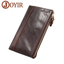 best leather wallets for women 2019 - Fashion Genuine Cowhide Leather Men Long Wallet Double Zipper Purse Card Holder Money Pack european for Male Clutch Bags