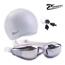 silicon caps UK - Swimming Cap Men And Women Swimming Goggles Myopia Silicon Natacion Waterproof Piscina Diving Earplug Set Arena Glasses Swim Hat C19040302