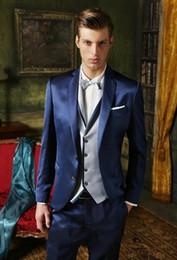 Shiny Beige Suit Australia - Custom Made Groom Tuxedo Shiny Navy Blue Groomsmen Notch Lapel Wedding Dinner Suits Best Man Bridegroom (Jacket+Pants+Vest)