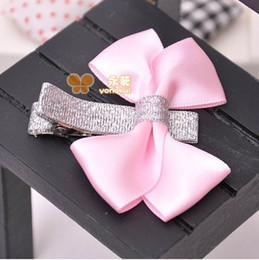 Acrylic Baby Hair Clip Australia - Satin Ribbon Bows Baby Girls Kids Hair Clips Pin Headwear Hairpin Accessories For Children Hair Bow Ornaments Hairclip Headdress