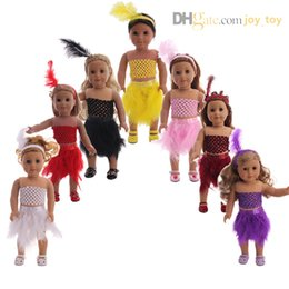 $enCountryForm.capitalKeyWord NZ - 18 inch doll Feathers Dress Summer Camp Multi Colors plume Skirt Cloth with feather hair band for 18 inch American girl doll