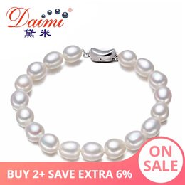 natural pearl beads mm 2019 - DAIMI Brand Freshwater Pearls Bracelet 7-8 mm Natural White Pearl Oval Shape River Pearls Bracelets Casual Bracelet chea