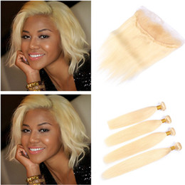 russian blonde hair weave 2019 - Straight Russian Blonde Virgin Human Hair Wefts with Frontal 4Bundles #613 Bleach Blonde Hair Weaves with 13x4 Lace Fron