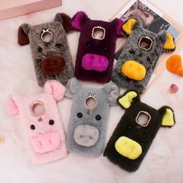 Cute plush iphone Cases online shopping - 3D Pig Genuine Hair Case For Huawei P30 P20 One Plus T LG Stylo V50 Fluffy Fur Cover Soft TPU Gel Rabbit Fur Plush Cute Phone Ear