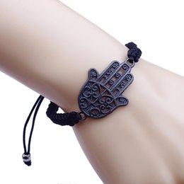 Nouvelle Mode Bonne Chance Rouge Chaîne Bracelet Bracelet Antique Argent Kabbalah Hamsa Fatima Main Charmes Judaica Mauvais Protection Des Yeux en Solde