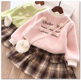 plush embroidery Australia - Girls outfits children plush pompon applique thicken warm clothes kids letter embroidery pullover+pleated skirt+butterfly bag 3pcs setsJ0612