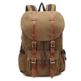 Cotton Coffee UK - Canvas and Leather Backpack Travel Hiking Camping Rucksack, Casual Laptop Bag College School Daypack for Men and Women (Coffee)